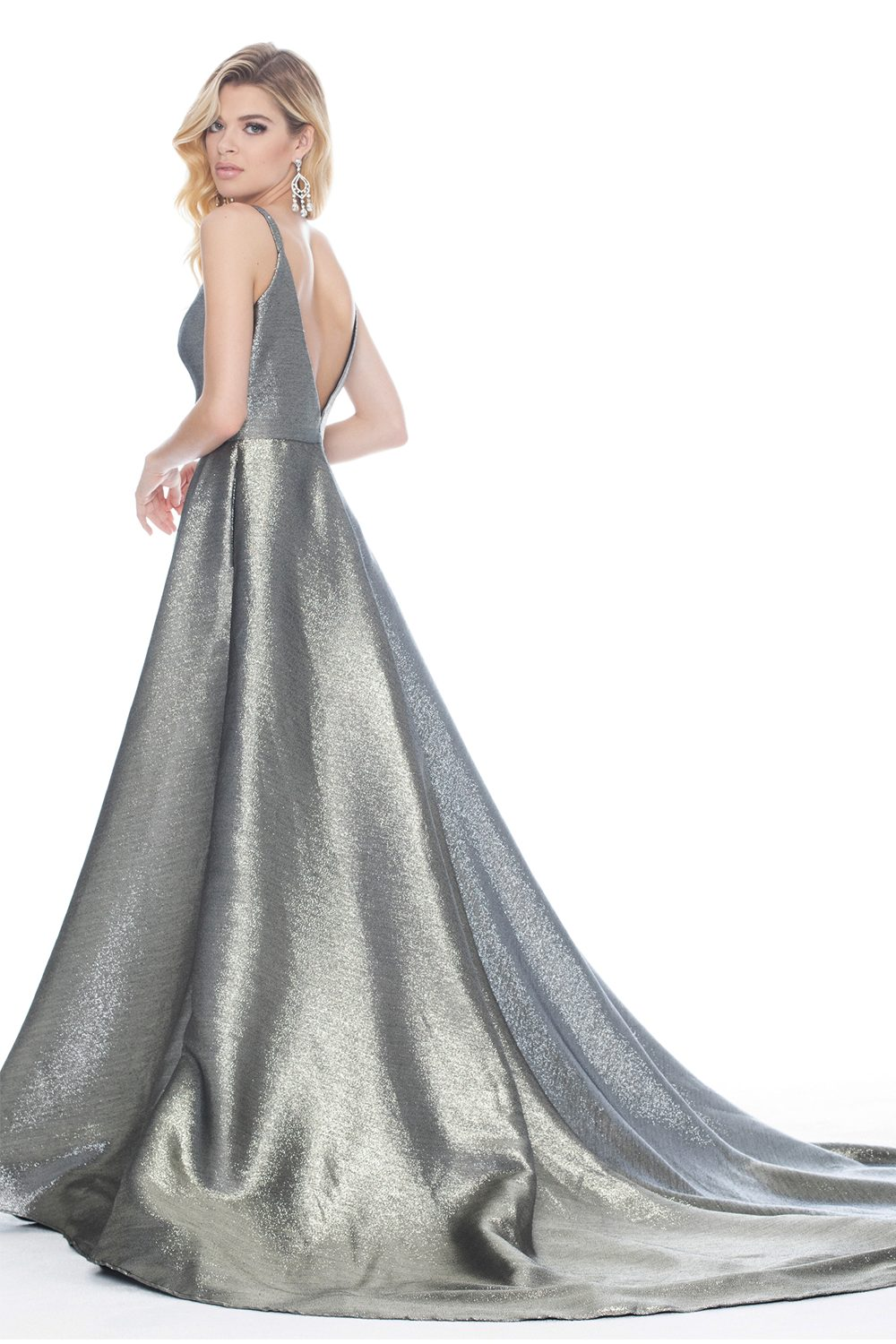 Ashley Lauren 1514 Metallic Evening Dress back