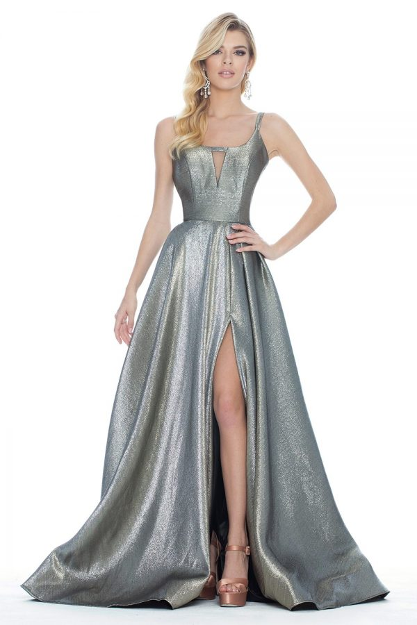 Ashley Lauren 1514 Metallic Evening Dress front