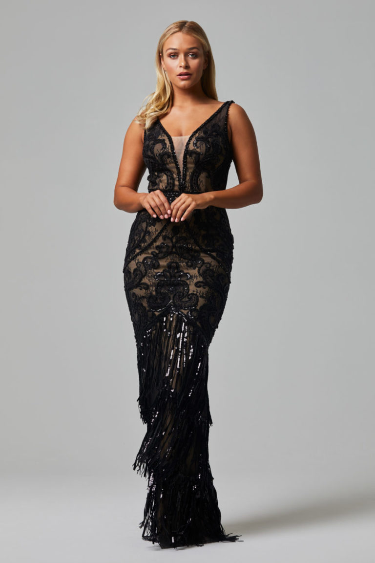 TC252 CAMEO EVENING DRESS BLACK FRONT