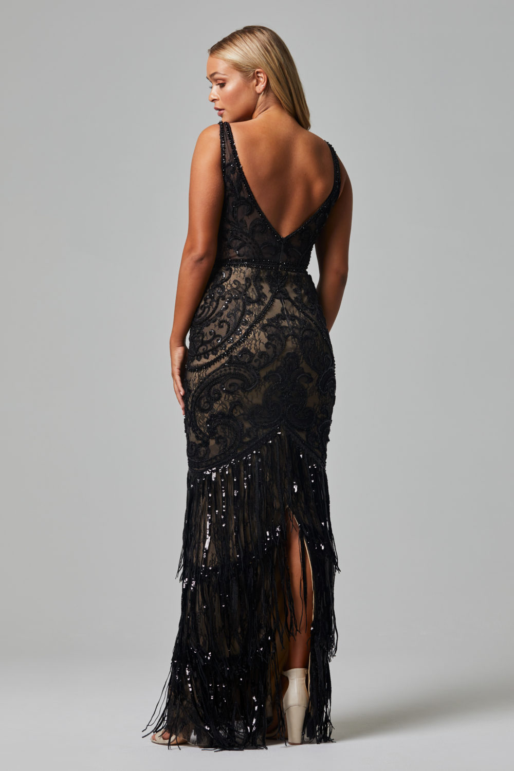 TC252 CAMEO EVENING DRESS BLACK FRONT BACK