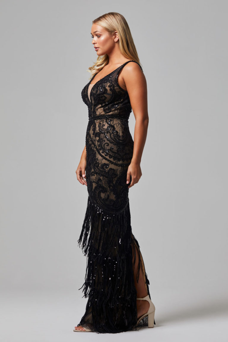 TC252 CAMEO EVENING DRESS BLACK FRONT SIDE