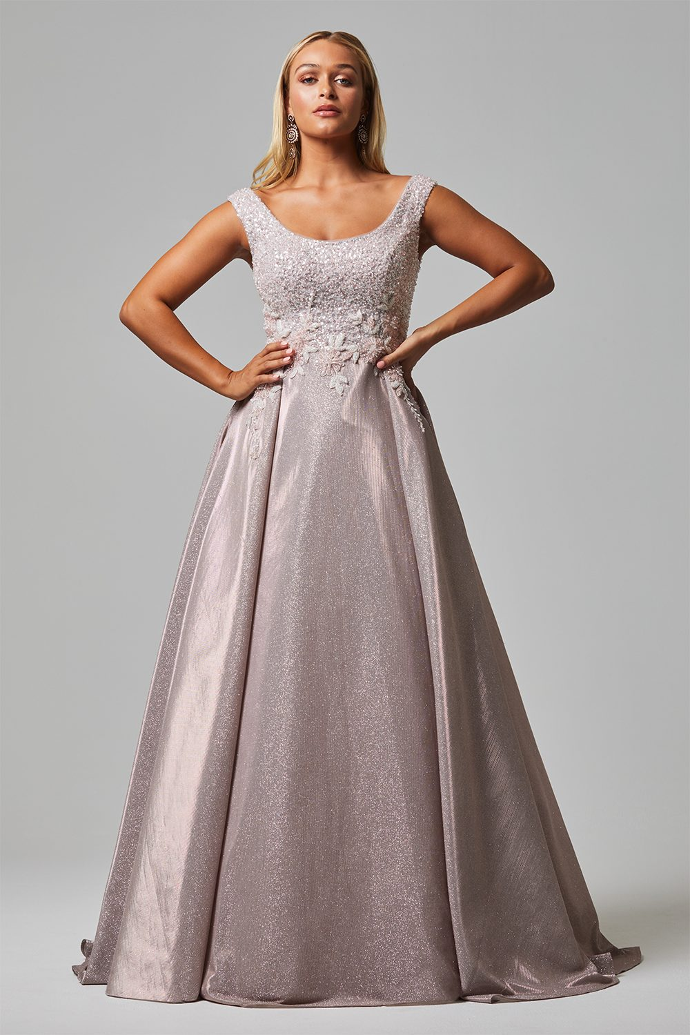 damalia evening dress tc255 rose front