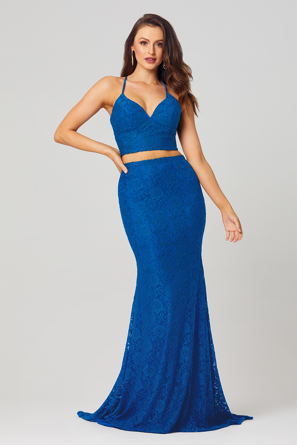 Gabbi Co-Ord Lace Formal Dress – PO813 Cobalt