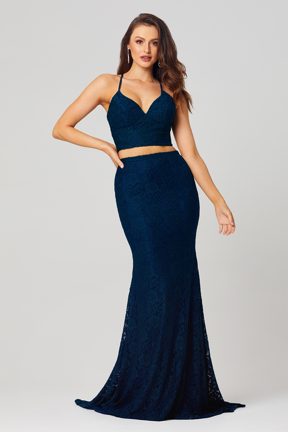 Gabbi Co-Ord Lace Formal Dress – PO813 Navy