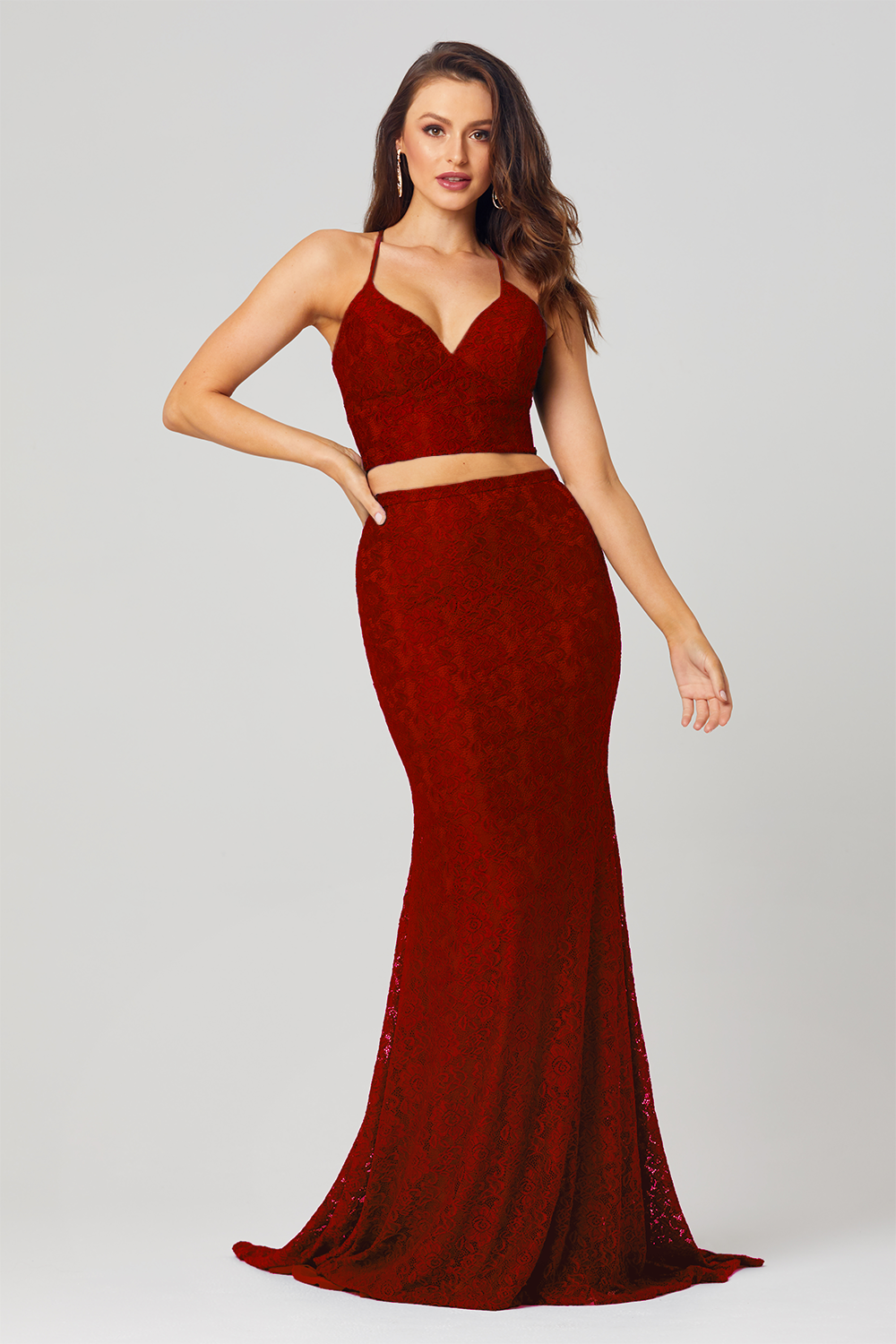 Gabbi Co-Ord Lace Formal Dress – PO813 Red