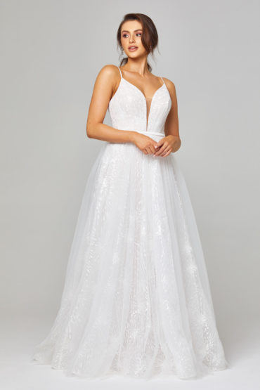 Belle Embroidered Tulle Wedding Dress Front