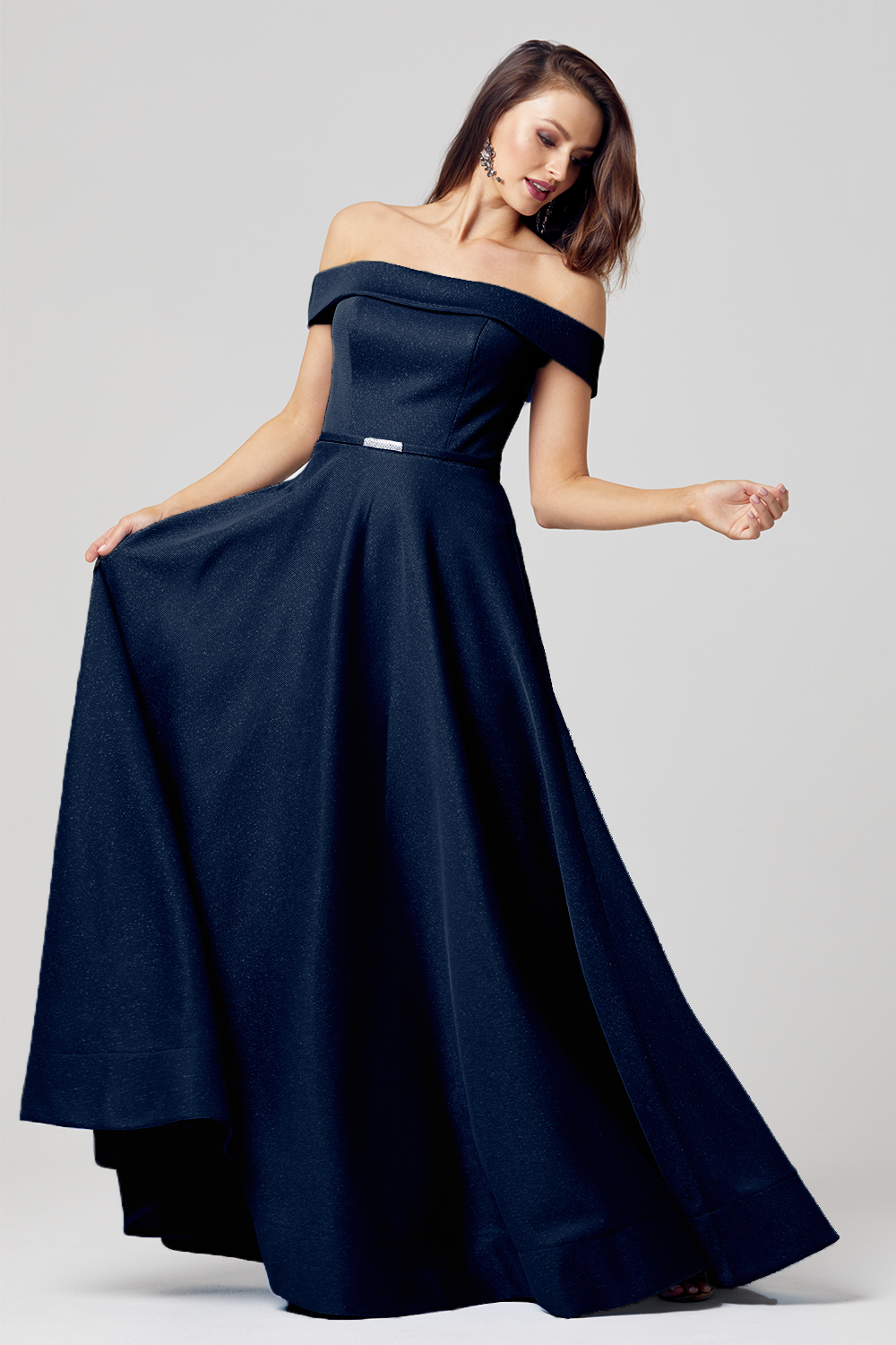 Ella Textured A-line Formal Dress – PO863 navy