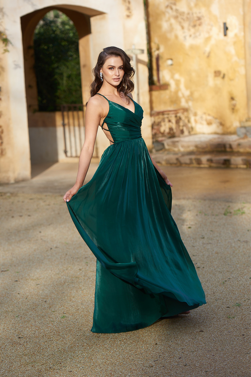 Lee Satin Lace-Up Formal Dress PO871