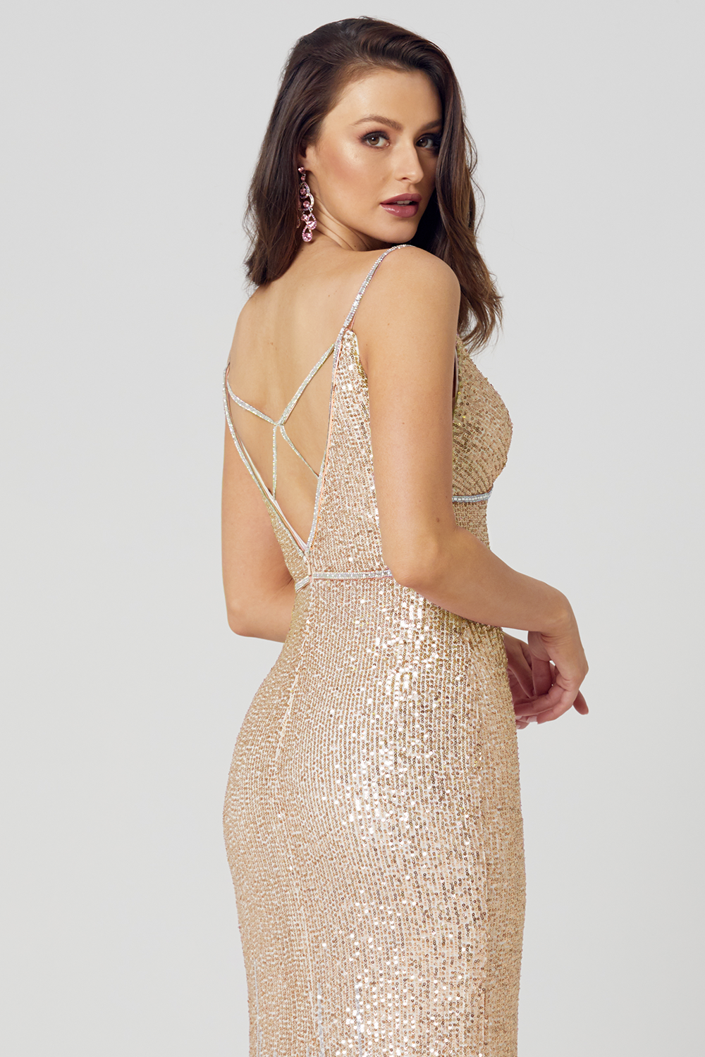 Nadia Fitted Sequin Formal Dress – PO862 Champagne