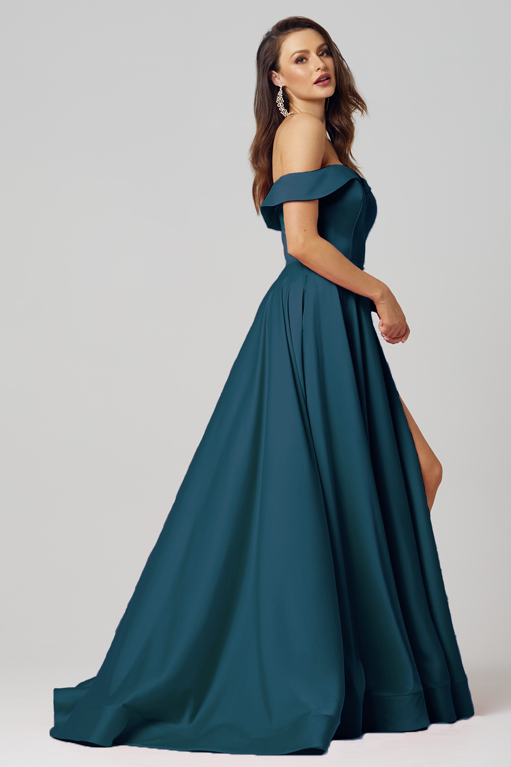 Pearl Strapless A-Line Formal Dress - PO876 TEAL