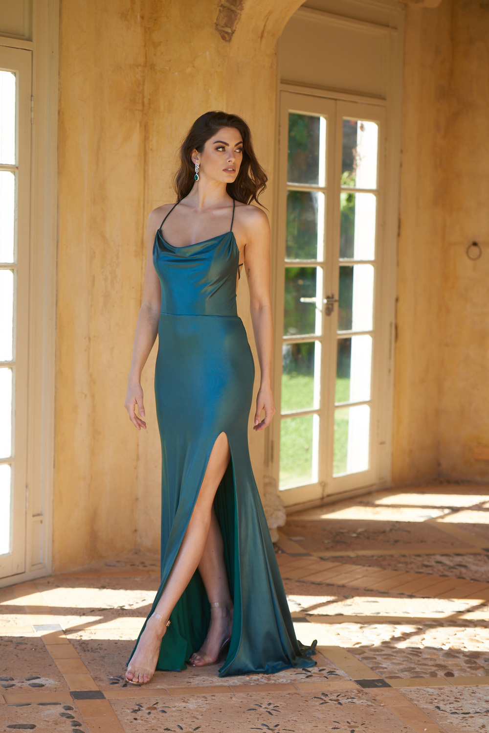 Piper Slinky Formal Dress - PO858 FOREST