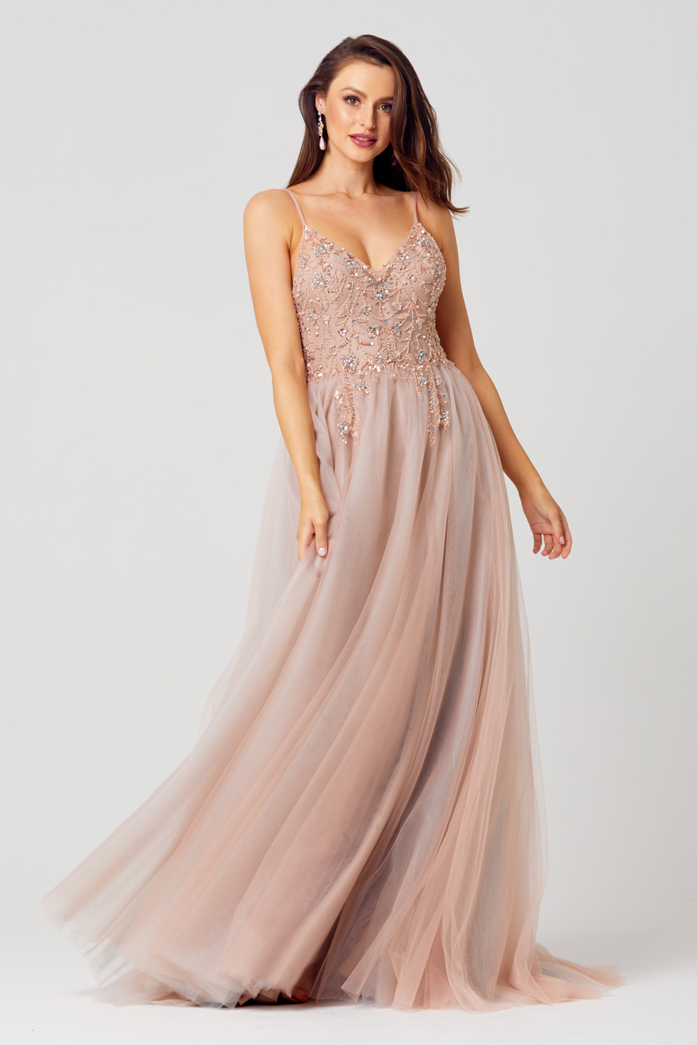 PO869 Cassie Tulle skirt evening dress front