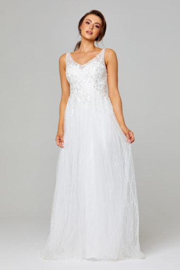 TC282 Blaire Lace and Tulle Wedding Dress Front