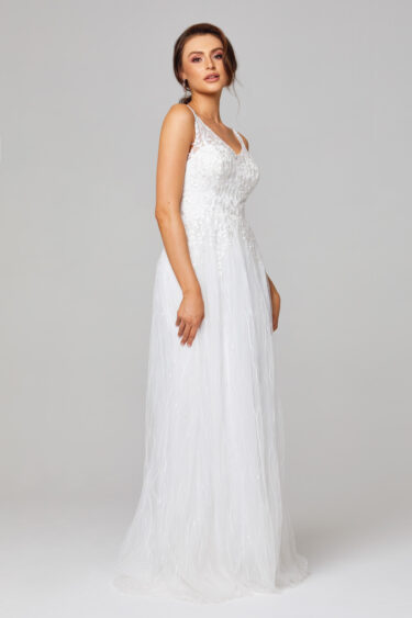 TC282 Blaire Lace and Tulle Wedding Dress Side