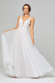 TC289A Zara Lace and Tulle Wedding Dress Front