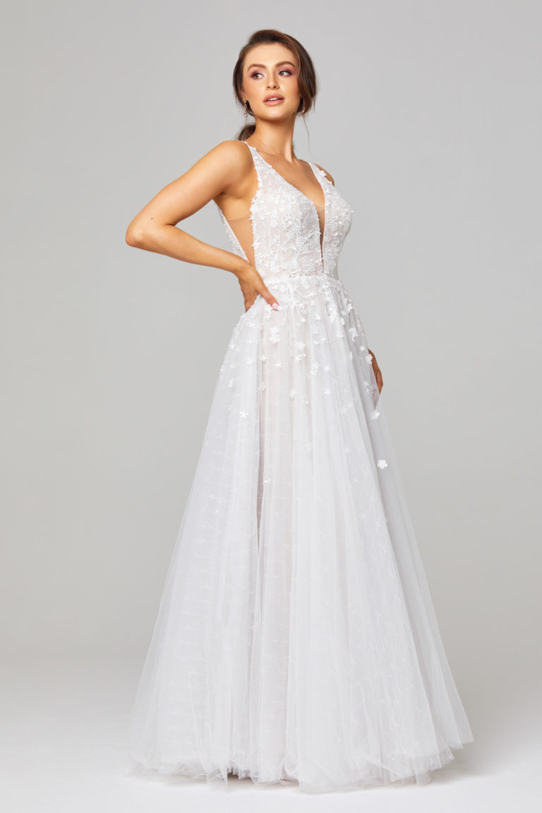 TC289A Zara Lace and Tulle Wedding Dress Side