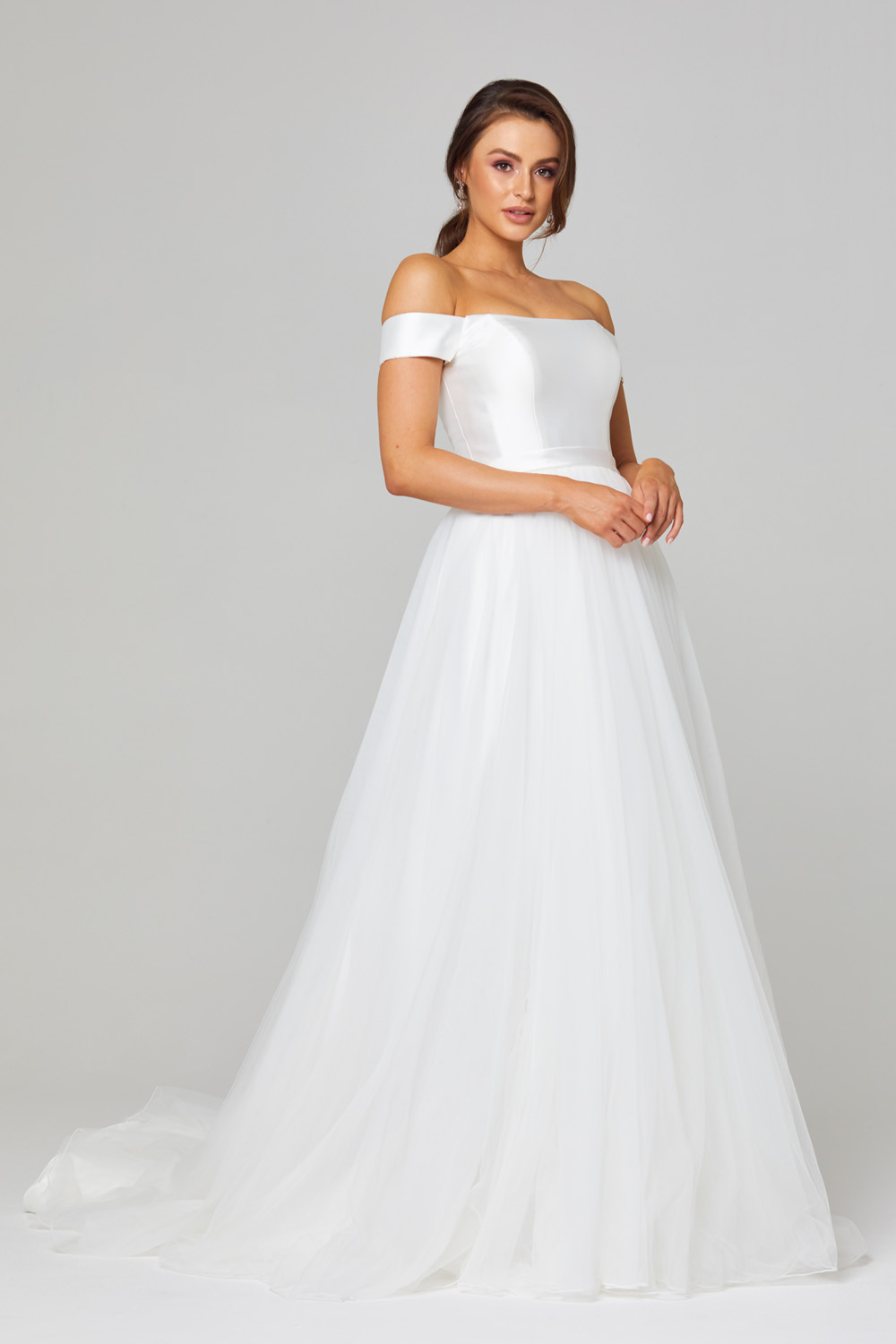 TC306 Lucinda Off Shoulder Wedding Dress Side