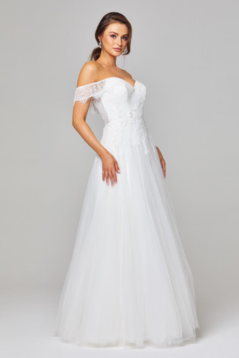 TC313 Kiisha Off Shoulder Lace Wedding Dress Side