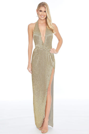 Ashley lauren 1813 gold evening dress
