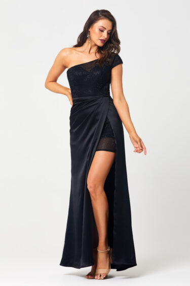 Ally One Shoulder Evening Dress - PO878 front