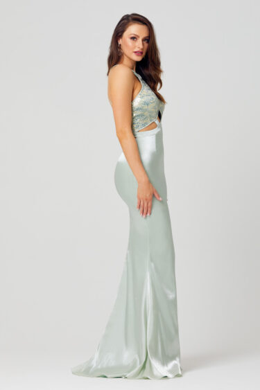 Baylee Fitted High Neck Formal Dress - PO864 side
