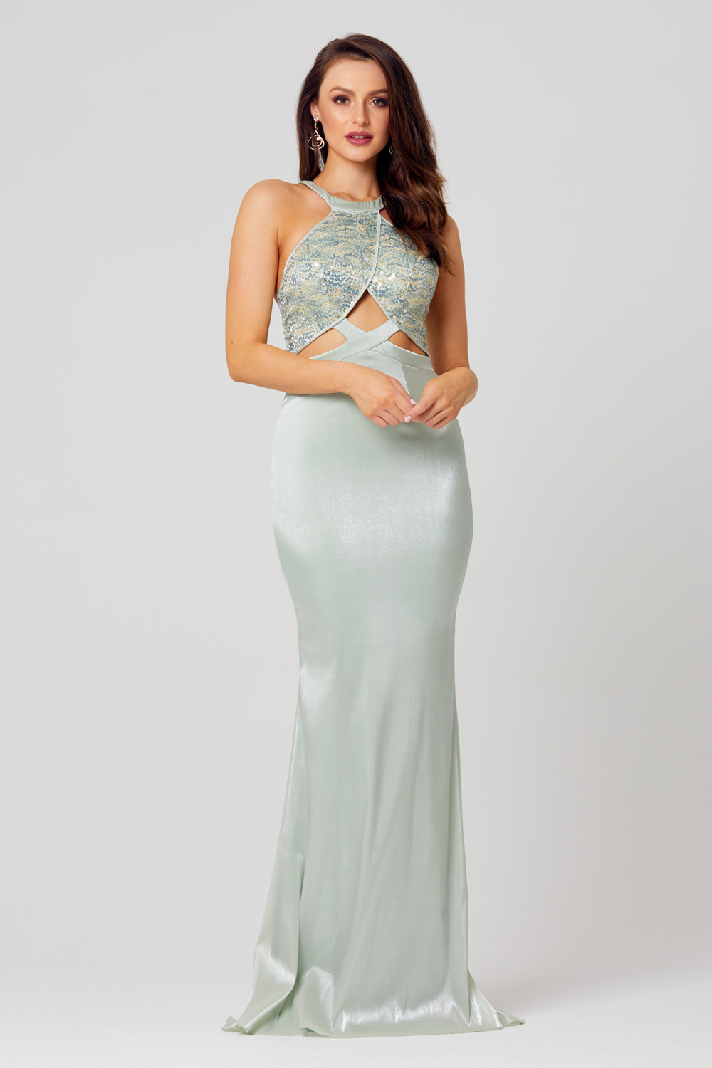 Baylee Fitted High Neck Formal Dress - PO864
