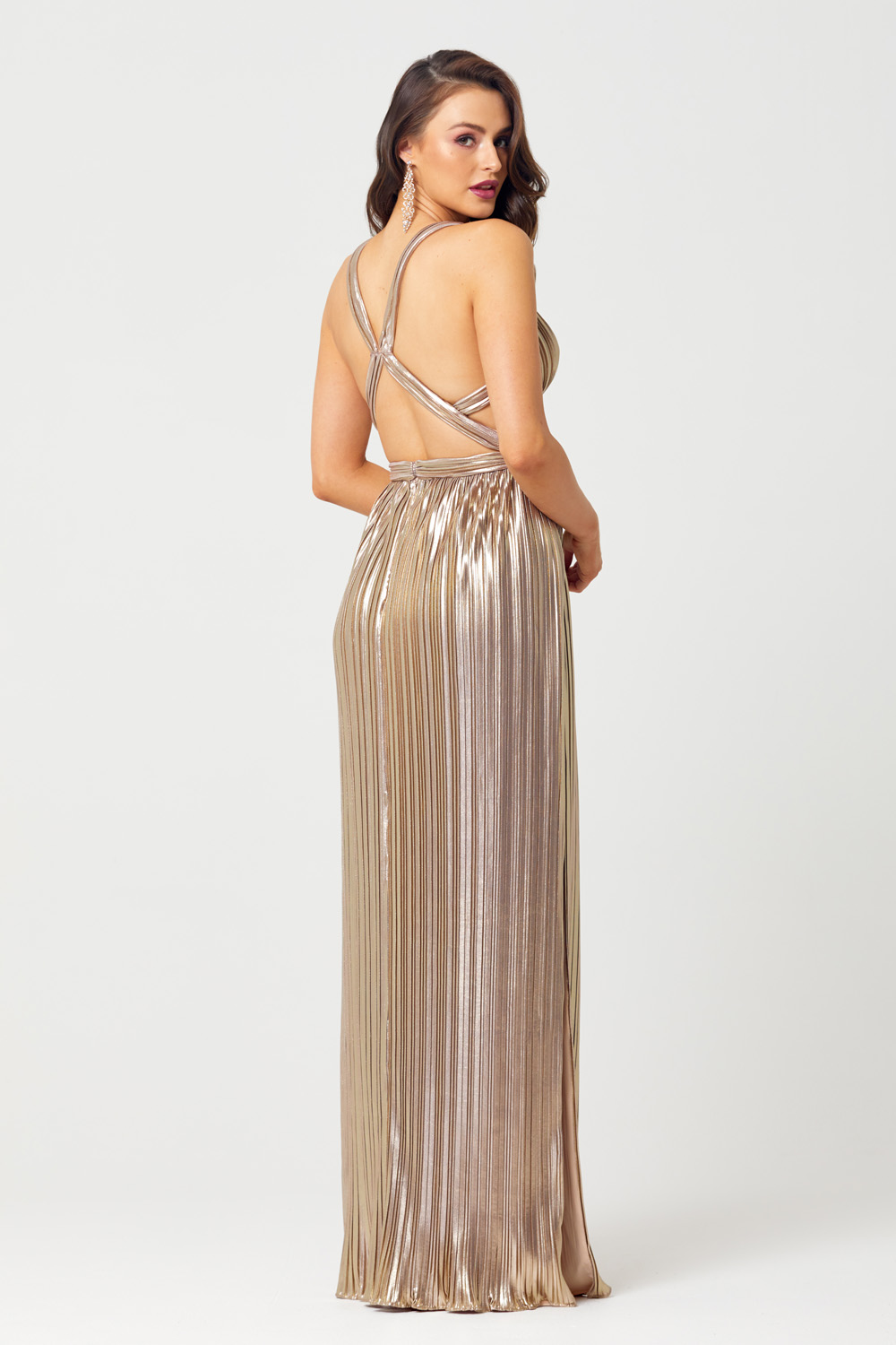 Elena Sunray Pleat Evening Dress - PO838 back