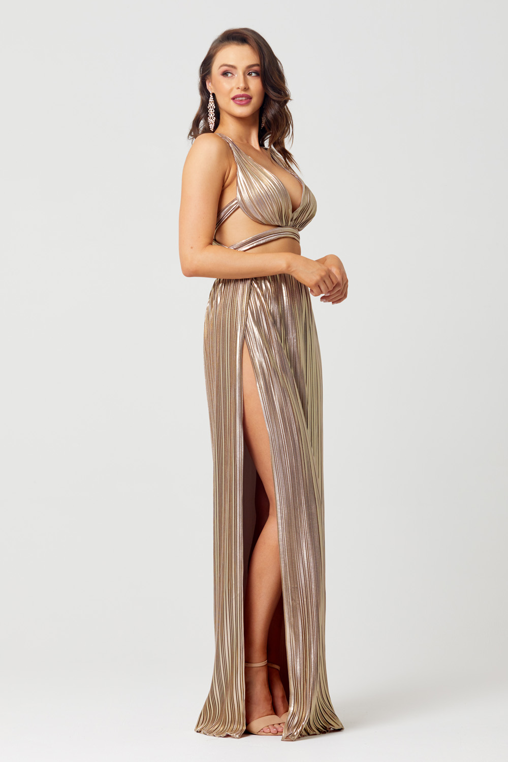 Elena Sunray Pleat Evening Dress - PO838 leg split