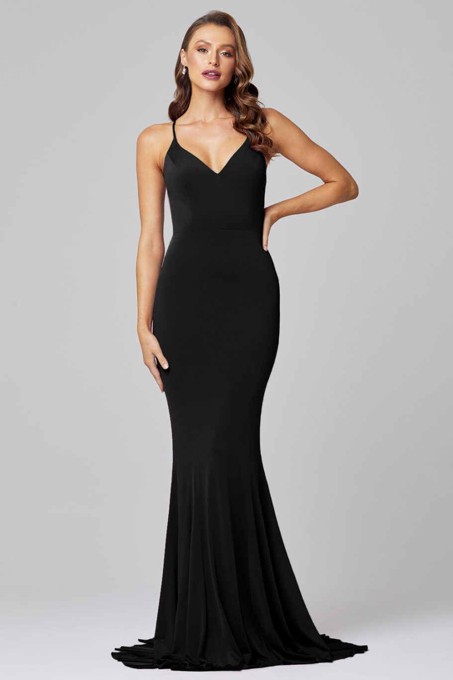Erika Fitted Mermaid Evening Dress - PO885 Black Front