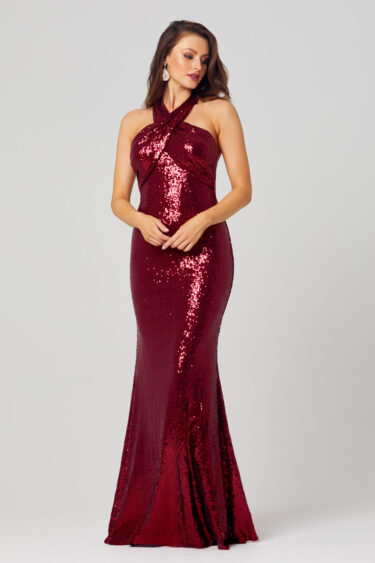 Kimmy Sequin Halter Formal Dress - PO820