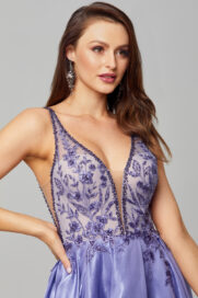 Mieka Floral Embroidered Prom Dress - PO879 close up