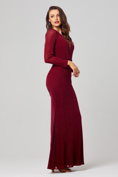 Naomi Long Sleeve Glitter Evening Dress - PO859 side