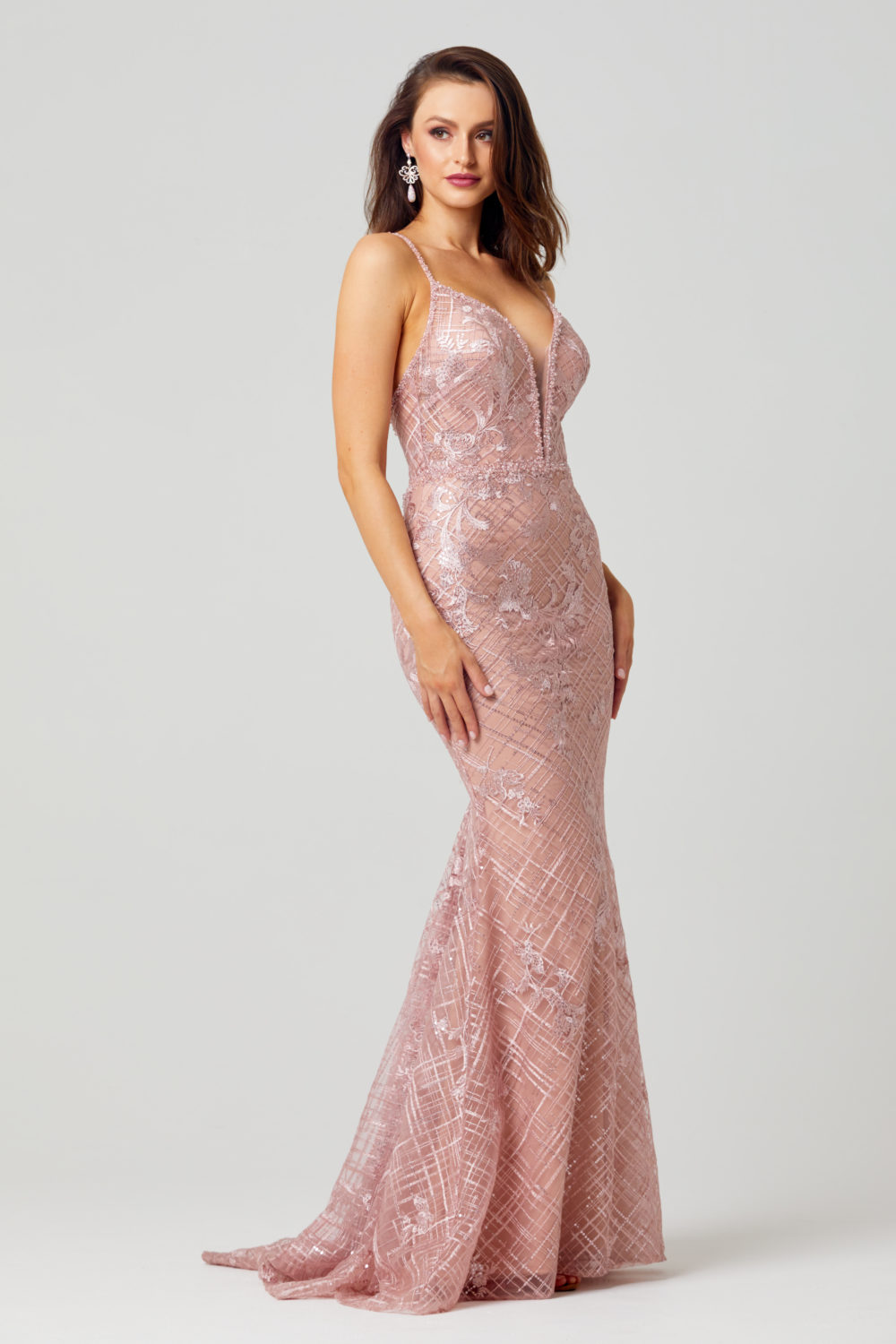 Reina Embroidered Evening Dress - TC269-Side