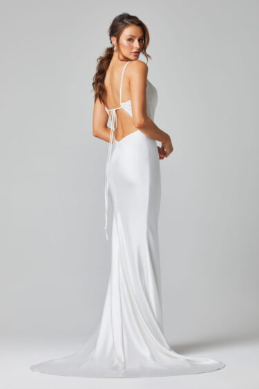TC322-GRACE FITTED SATIN WEDDING DRESS-BACK