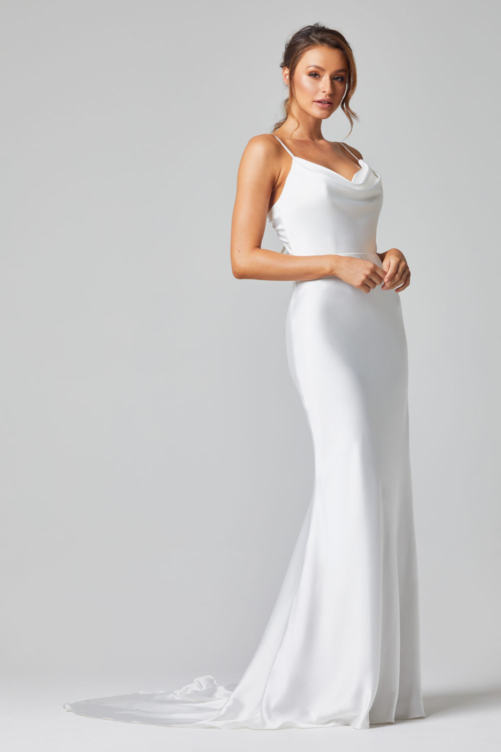 TC322-GRACE FITTED SATIN WEDDING DRESS-SIDE