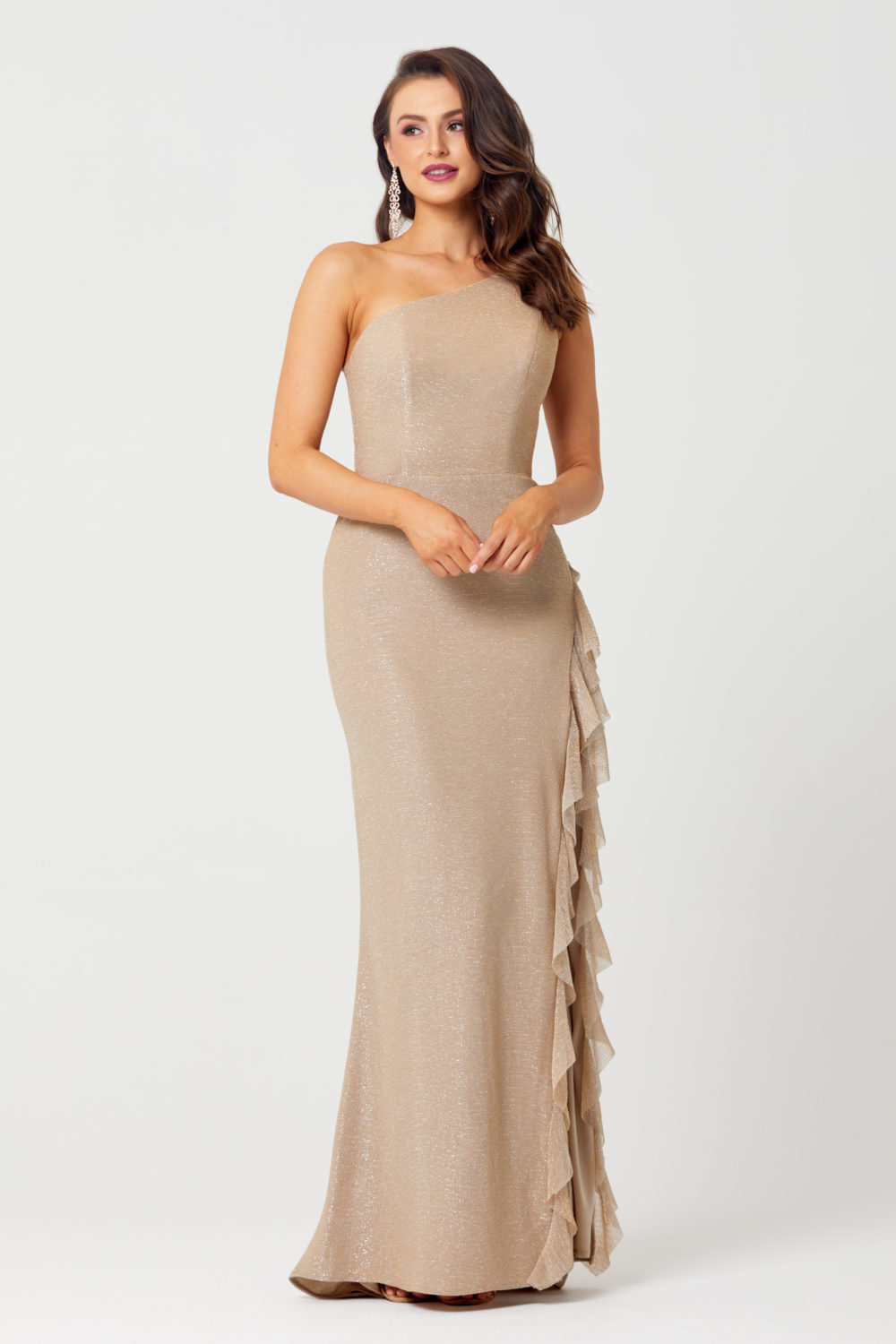The Corinne One Shoulder Evening Dress - TC279-Front