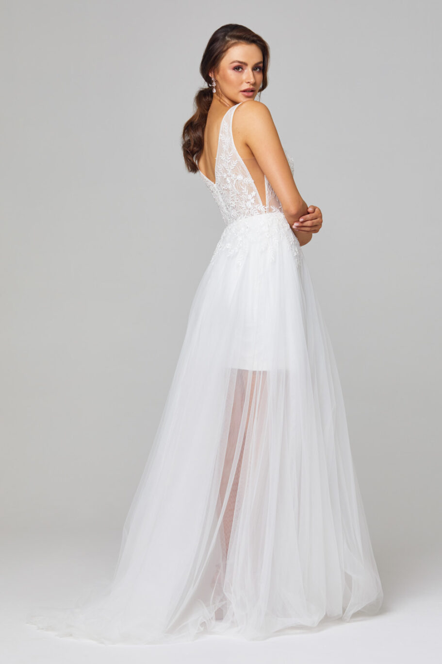 Arabella Plunging V-neck Wedding Dress - TC319 back