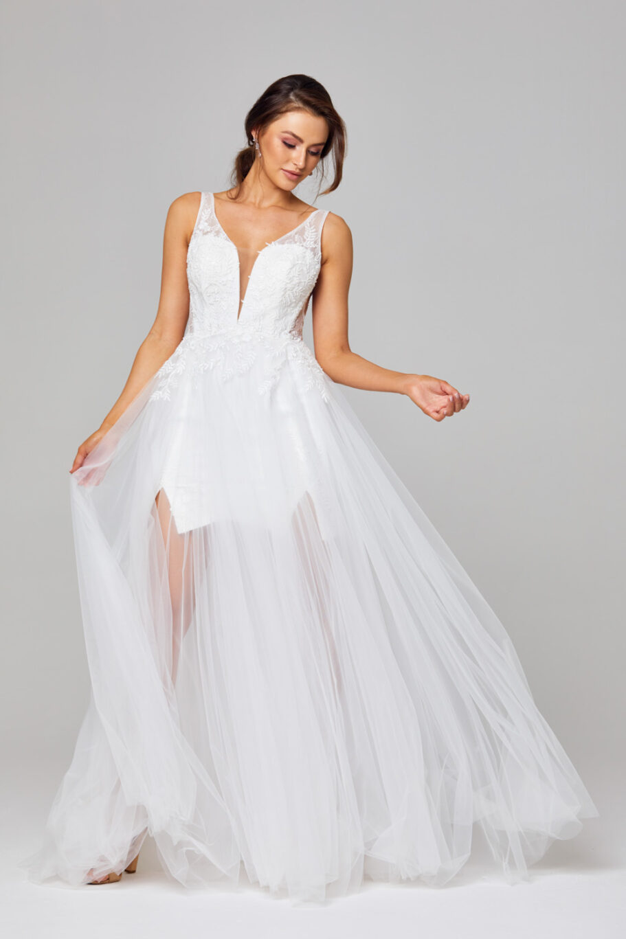 Arabella Plunging V-neck Wedding Dress - TC319 hero