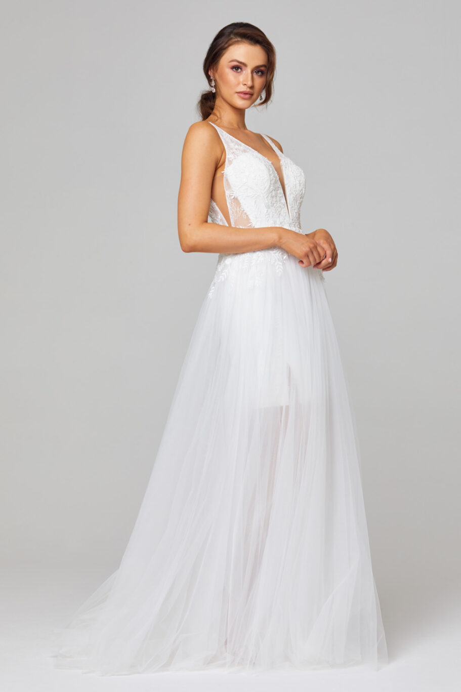 Arabella Plunging V-neck Wedding Dress - TC319 side