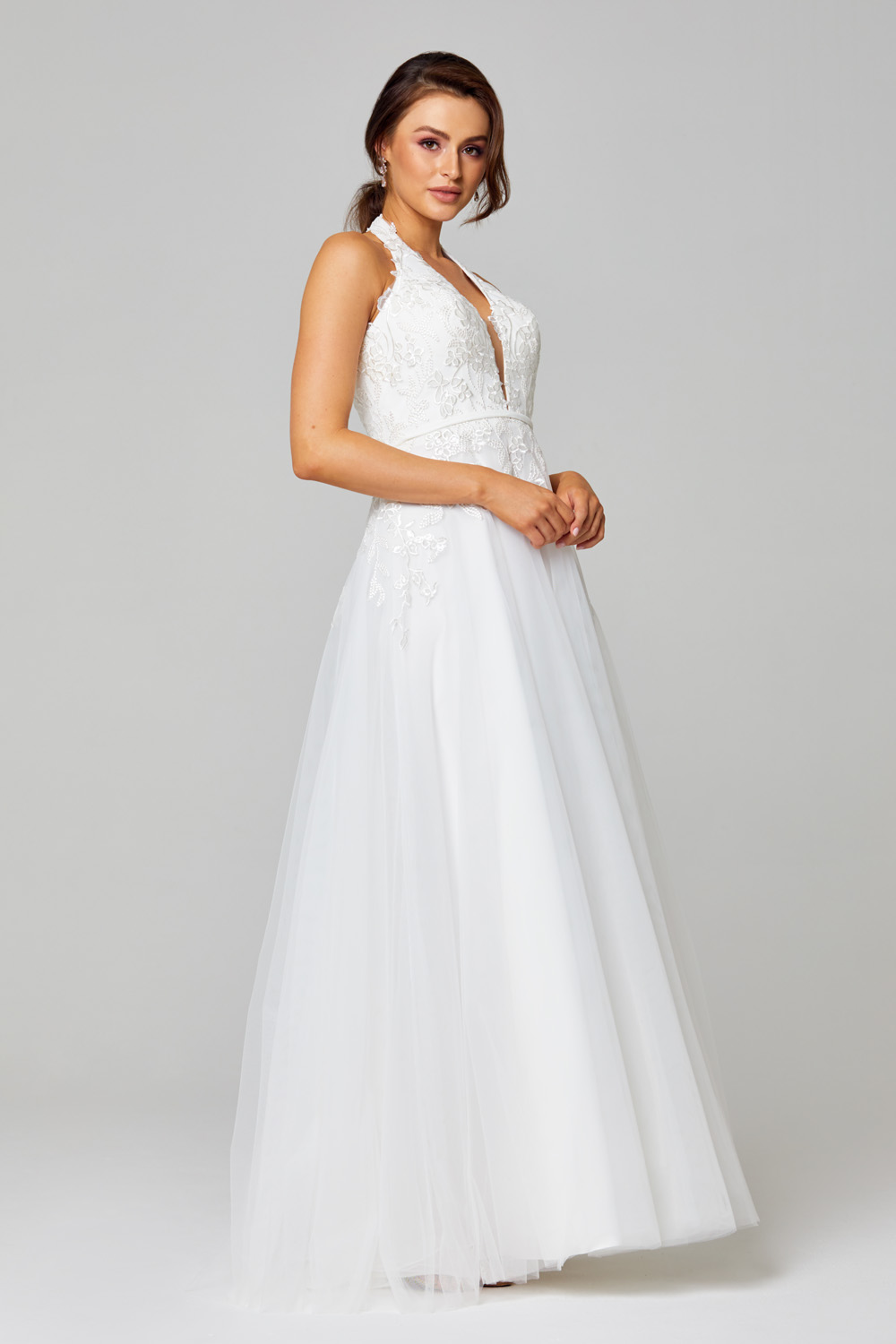 Daphne Plunging Halterneck Wedding Dress - TC266 side
