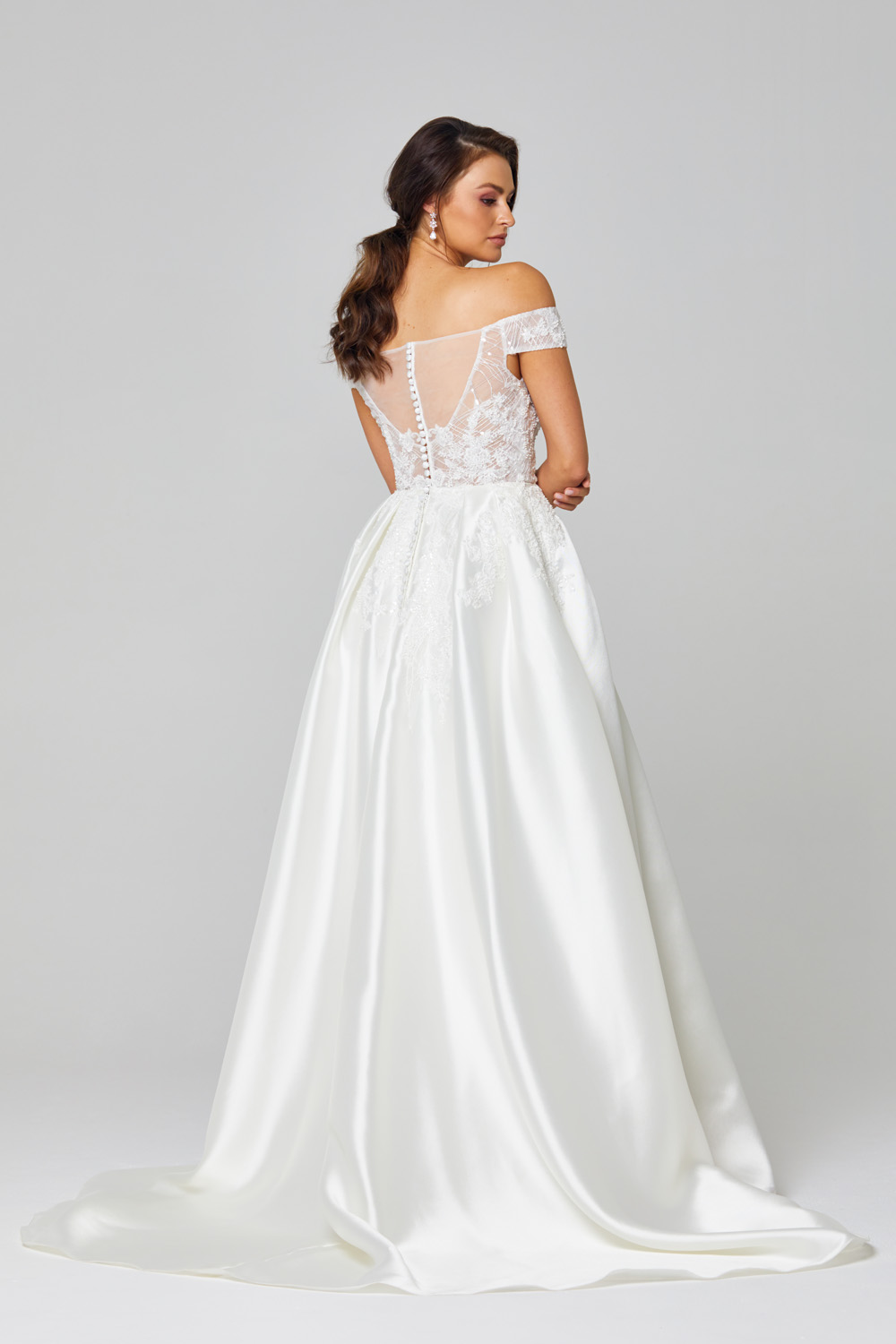 Eliza Off-shoulder Satin Wedding Dress - TC307 back