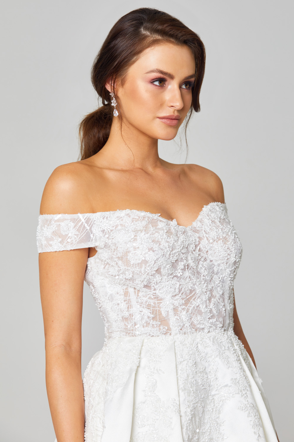 Eliza Off-shoulder Satin Wedding Dress - TC307 close up