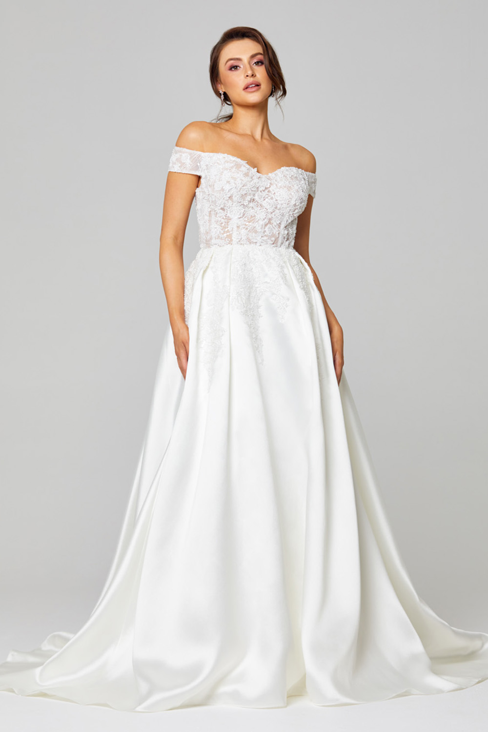 Eliza Off-shoulder Satin Wedding Dress - TC307