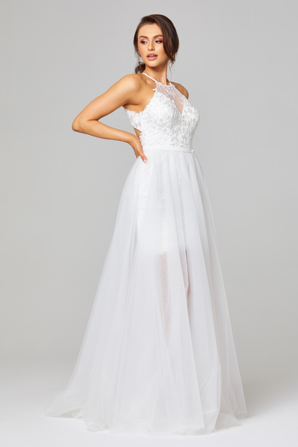 Hazel Illusion Halterneck Wedding Dress - TC271 side