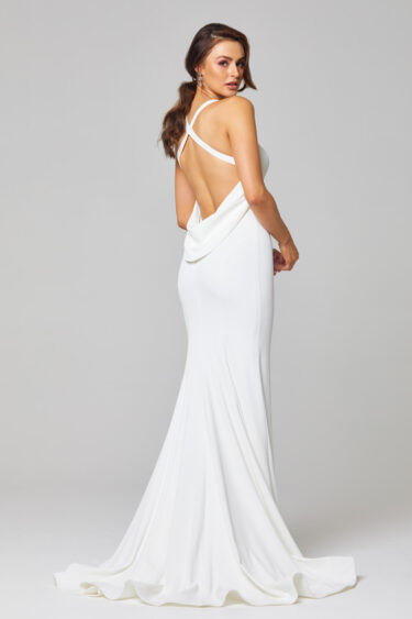 Monique Strappy Cowl Wedding Dress - TC285 Back