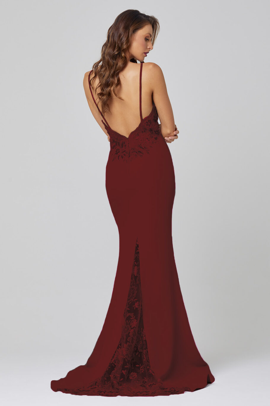 Pippa Low Back Sequin Lace Formal Dress -PO888 wine