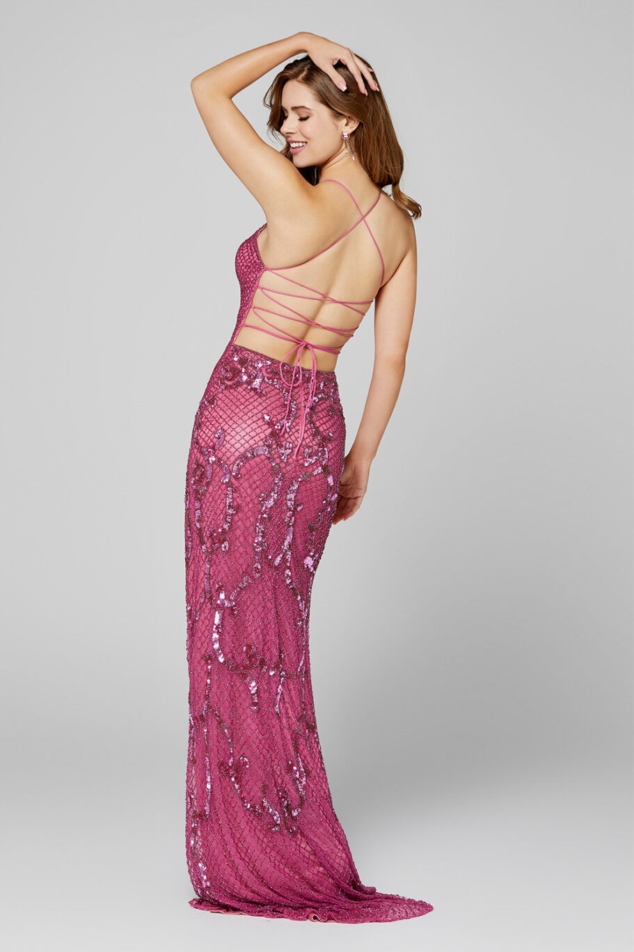 Primavera 3444 Keyhole Evening Dress back