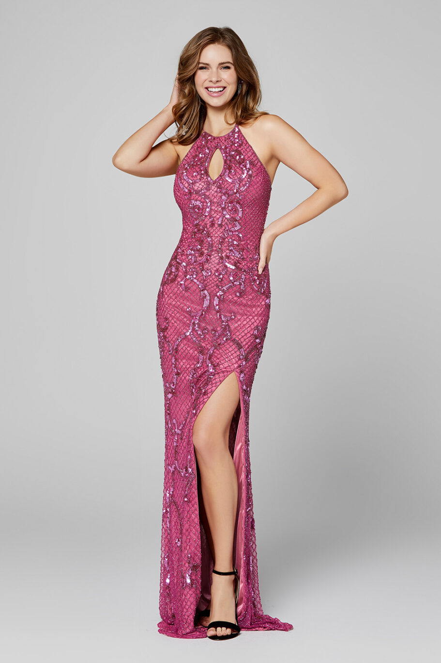 Primavera 3444 Keyhole Evening Dress front