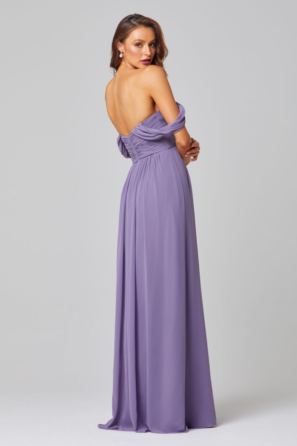 Lucy Off Shoulder Bridesmaid Dress - TO838-LAVENDER-BACK
