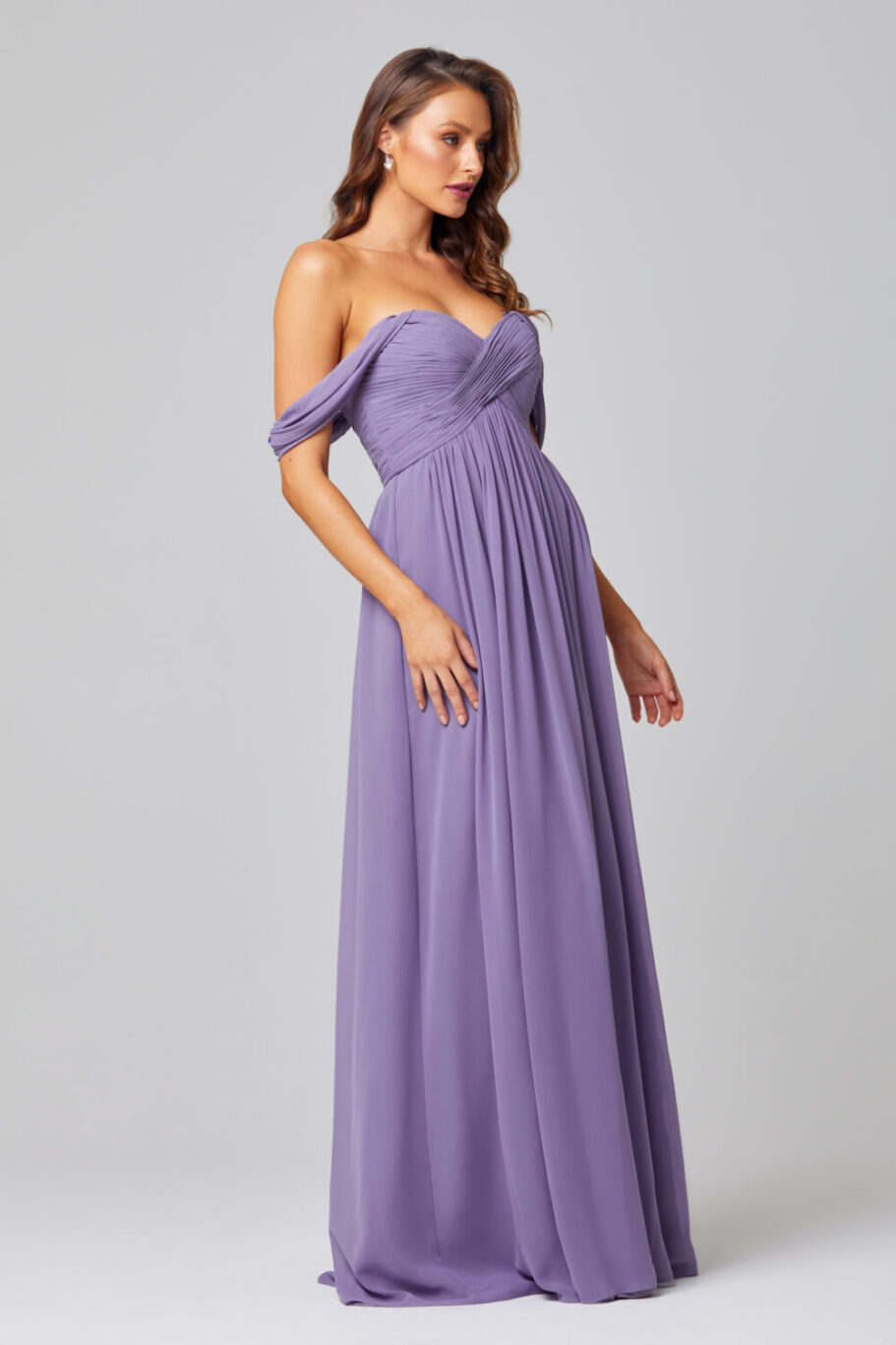 Lucy Off Shoulder Bridesmaid Dress - TO838-LAVENDER-SIDE